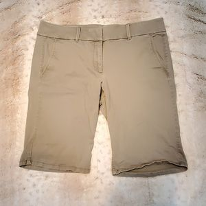 Ann Taylor LOFT Gray Green Longer Khaki Shorts